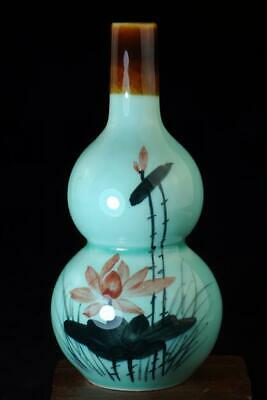 China Old Hand-made Blue Glaze Porcelain Hand Painted Lotus Gourd Vase B02