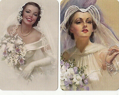 2 SWAP PLAYING CARDS BEAUTIFUL BRIDES IMAGES FROM 1920's - MODERN BLANK BACKS #2