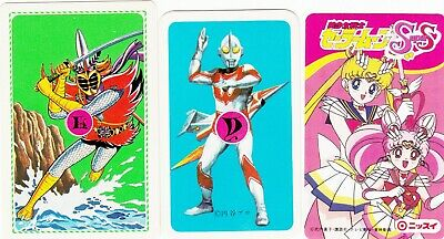 3 SWAP PLAYING CARDS VINTAGE 1980's JAPANESE ANIME FIGHTING FIGURES DIFF SIZES