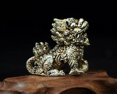 chinese hand handmade cooper-plating silver kylin statue a01