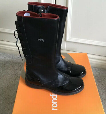 Designer Italian GIRLS RONDINELLA  Black Leather BOOTS UK 13 Eu 32  Rrp £135