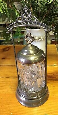 Antique  Triple Crown  Silver Plate And Crystal Pickle Canister