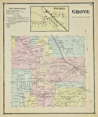 1869 ALLEGANY Grove Swains Business NY DG Beers & Company Antique Colorized Map