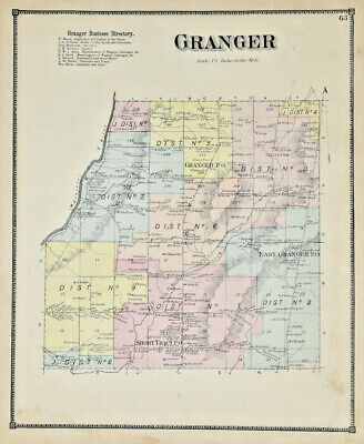 1869 ALLEGANY Granger Business NY DG Beers & Company Antique Colorized Map