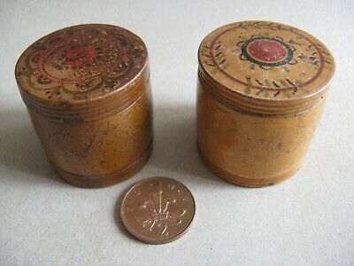 Antique Treen  wooden gaming  counter boxes  X 2 C1840