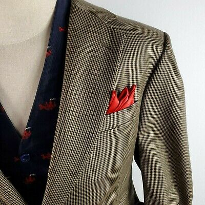 Jos A Bank Houndstooth Suit Blazer Jacket Coat Wool Mens sz 42R Gatsby Peaky Mad