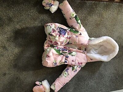 Ted Baker Girls Floral Pink Padded Coat Age 2-3