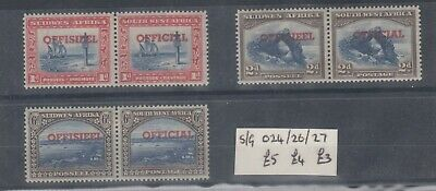 South West Africa 1951 Officials Collection SGO24/O26/O27 MNH J7888