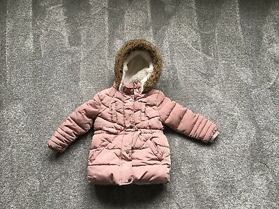 Primark Age 2-3 Years Girls Pink Winter Puffer Coat Jacket