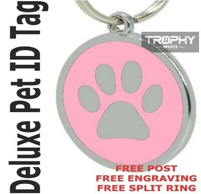 Deluxe PINK PET ID TAG 30mm DOG CAT paw FREE Personalised Engrave Shire Rego