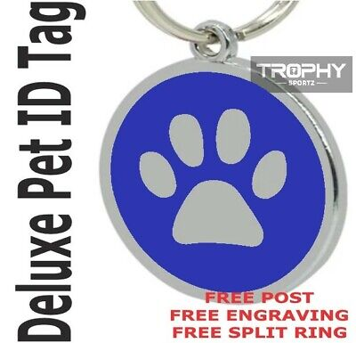 Deluxe BLUE PET ID TAG 30mm DOG CAT paw FREE Personalised Engrave Shire Rego