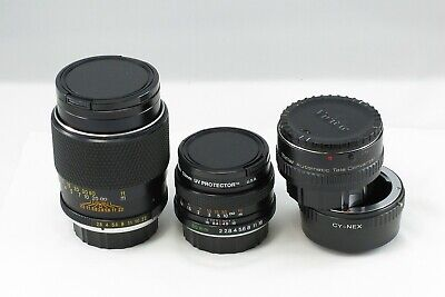 Yashica for SONY E-mount Lot 2 Lens 50mm F2.0 135 2.8 NEX bundle adapter CY +2x