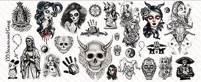 1//6 Scale Custom Tattoos pour figurines ANGES /& DEMONS-Waterslide Decals