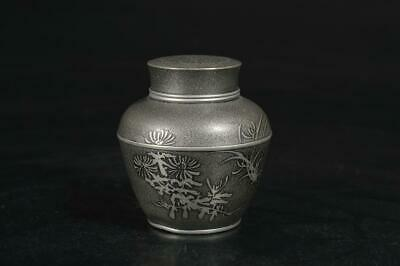 A5020: Japanese Tin Flower sculpture TEA CADDY Chaire Container Tea Ceremony