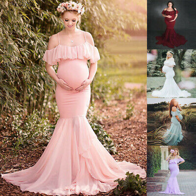 Women Pregnancy Photography Prop Party Prom Gown Maternity Solid Lace Long Dress