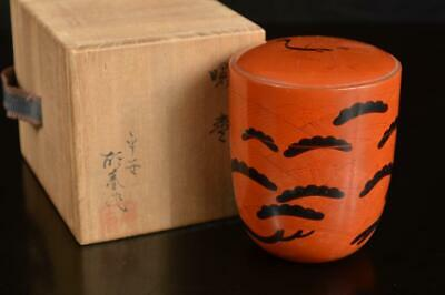 A4881: Japan Wooden Lacquer ware TEA CADDY Natsume Chaire Container w/signed box