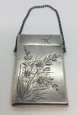 Gorham Antique Sterling Silver Aesthetic Floral Dragonfly Card Case