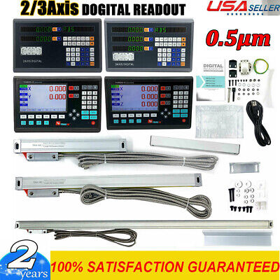 2/3 Axis Digital Readout DRO Linear Scale Encoder 5µm for CNC Milling Lathe US