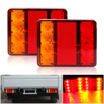 LED Trailer Tail Light Kit Pair Plug 8m 5 Core Wire Caravan Boat Waterproof UTE
