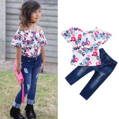 2PCS Child Kids Baby Girl Ruffles Floral Tops Tee+Denim Pants Clothes Outfit Set