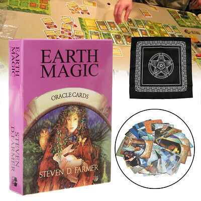 48 Cards Earth Magic Oracle Deck Future Fate Fortune Telling Game w/ Tablecloth