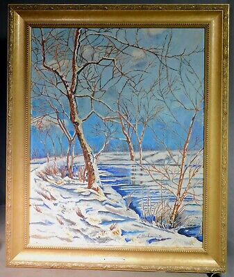 Vintage Modern Oil Painting LINCOLN PARK Chicago Illinois L Bockman WINTER 1965