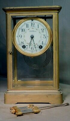 Antique BRASS Seth Thomas Crystal Regulator Mantel Clock Orig Key Glass Pendulum