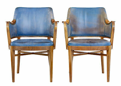 Pair Of Mid 20Th Century Teak And Leather Armchairs