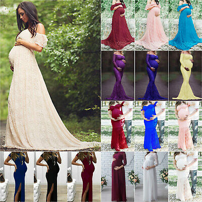 Women Lace Maxi Dresses Maternity Photography Prop Wedding Pregnant Party Dress