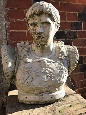 Classical Old Style 20th Century Large Stone Augustus Caesar Garden Statue Bust