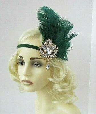 Gold Silver Bottle Dark Emerald Green Feather 1920s Headband Flapper Gatsby 7970