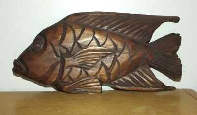 """Vintage Wooden Hand Carved Fish Sculpture Beach Lakehouse Decor 8 1/2"""""""