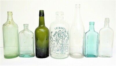 Antik & Vintage Grün Blau Glas Moxie Fellows Dr.Pierce Prescription Flaschen