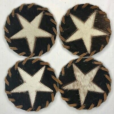 - sets of 6 Handmade Cowhide Leather Coasters from Africa Swaziland 2 Pack
