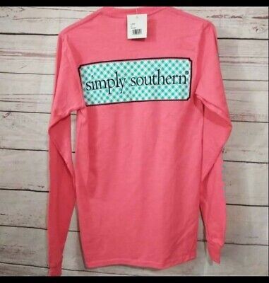 NWT Simply Southern Women's Sz. XS Long Sleeve Coral T-Shirt w/ Front Pocket