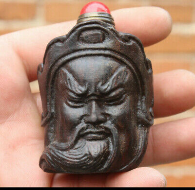 Chinese masters hand-carved Guan Yu shape wood snuff bottle + Copper spoon c095