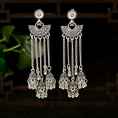 Vingate Women Jewelry Jhumka Bohemia Charm Silver Pendant Retro Earrings Gifts