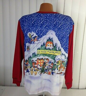 Vintage Disney Store Christmas 90s Long Sleeve Flannel Shirt L VTG Mickey Mouse