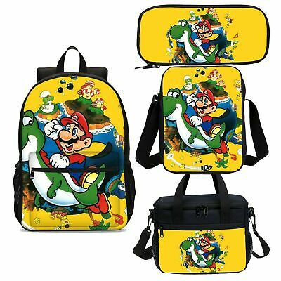 Super Mario Yoshi School Backpack Insulated Lunch Box Shoulder Bag Pen Case Lot