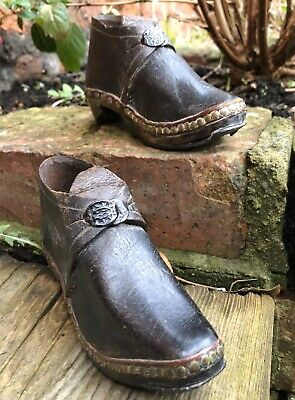 "Antique Child's Baby Clogs 5.5"" 14cm Edwardian Wood Leather Vintage Buckle Old"