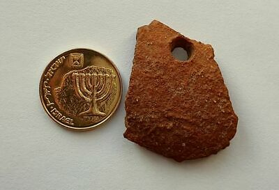 Ancient Roman Pottery Holey Fragment Lucky Pendant • Legendary Masada Israel # 8