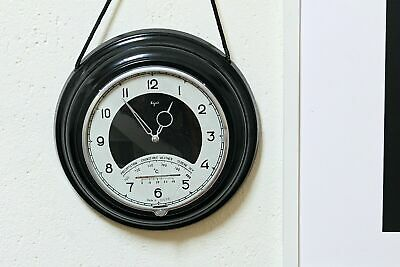 Vintage Soviet Wall Clock with Barometer and Thermometer Mechanical Ship Clock