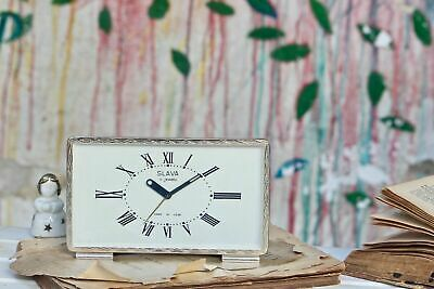 Working Alarm Clock Slava Small Mechanical Gold Colored Wind Up Art Deco Clock