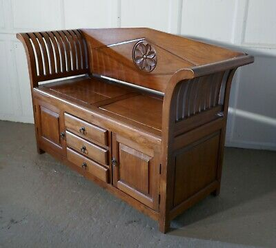 Fruitwood Settle, Bench,Hall Seat with Shoe Cupboard