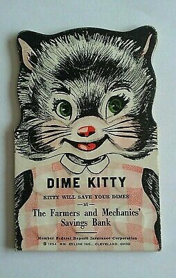 Vintage 1954  DIME KITTY First Federal Savings - Dime Saver - Lockport NY