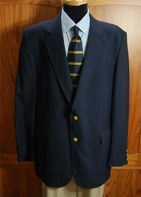 Boston Traders Navy Blue Two Gold Bttn Wool Blazer Sport Coat Suit Jacket 44R