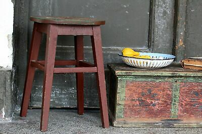 Wooden Stool Antique Kitchen Stool Primitive Rustic Stool Old Brown Bar Stool
