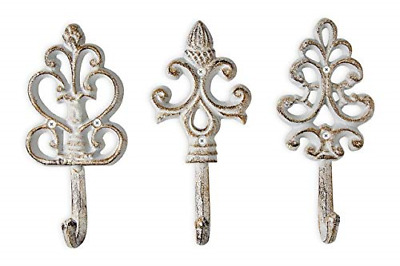 Shabby Chic Cast Iron Decorative Wall Hooks Rustic Antique French Country Charm