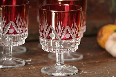 Vintage Glass Cups 6 Small Red Sherry Liquor Stool Glasses Vintage Barware