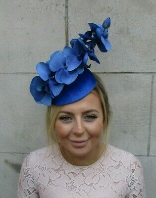 Royal Blue Velvet Orchid Flower Fascinator Races Ascot Hat Hair Wedding 7977